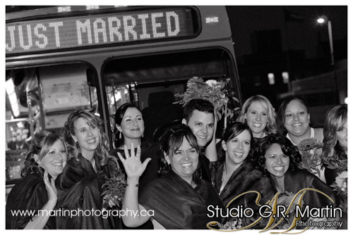 just married in Ottawa using OC transpo bus transportation wedding photography