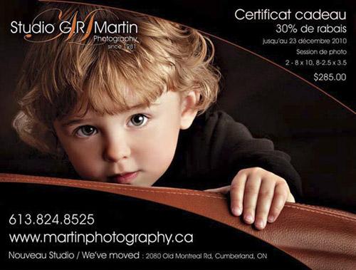 Portrait Gift Certificate Special - Certificat Cadeau - Ottawa Photographer