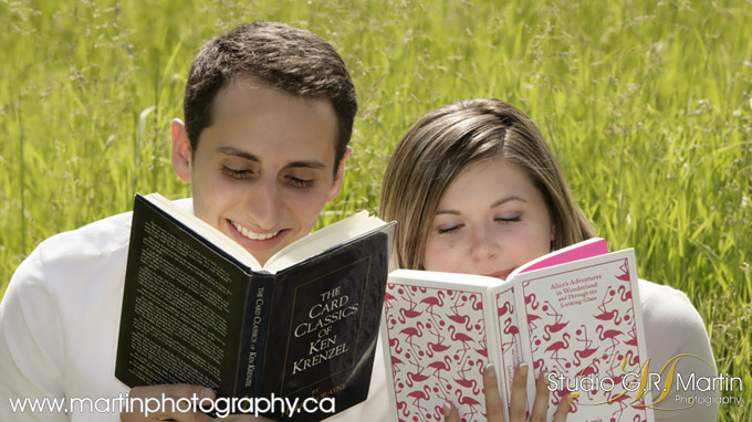 engagement couple reading books
