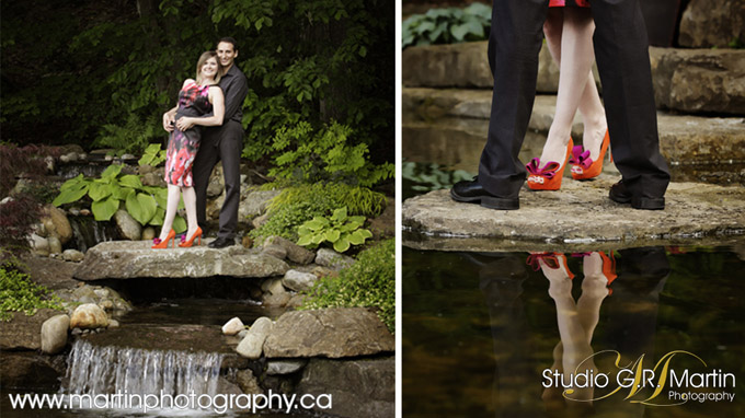 engagement couple photographed at pond with waterfall