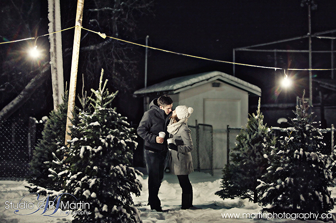 outdoor couple photography at night with trees