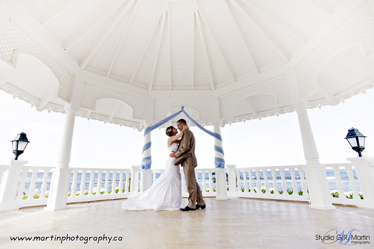couple at wedding ceremony in gazebo at Grand Bahia Principe hotel in Jamaica