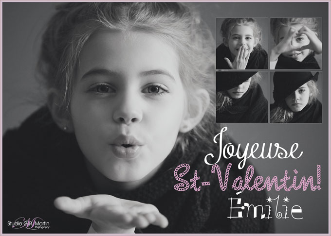black and white portrait of a little girl -  valentine day card