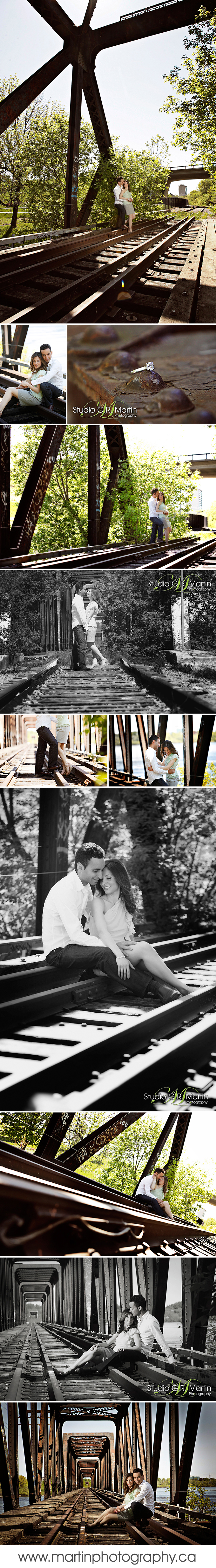 Train track engagement photography in Ottawa, Railroad train track couple photography ottawa