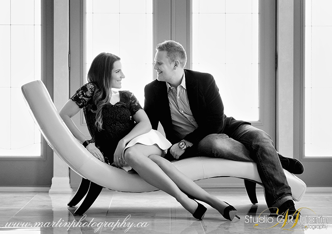 studio Black and white engagement photography