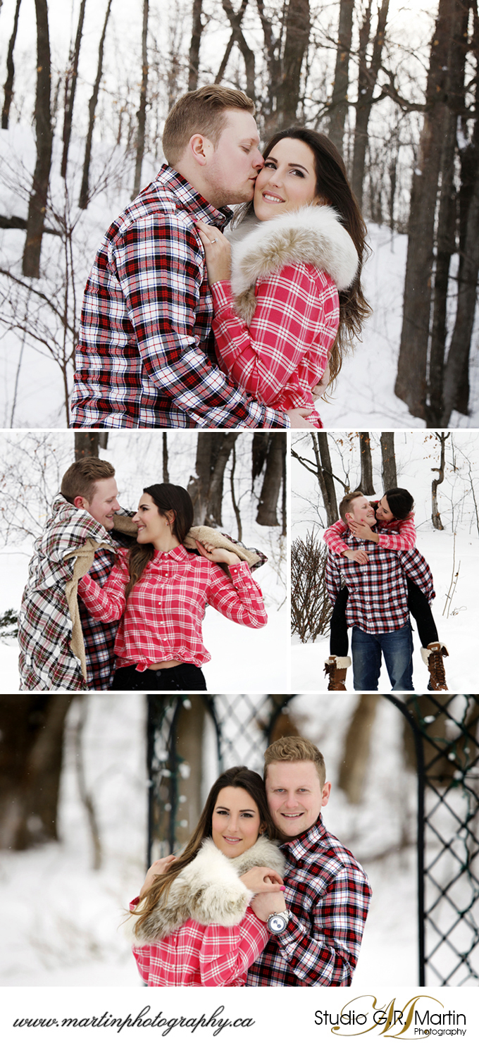 Ottawa winter coupleoutdoor with plaid shirts and trees