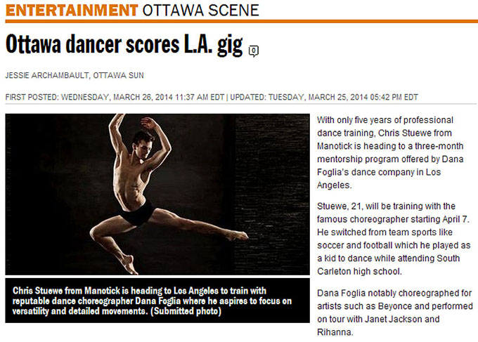 Chris Stuewe dancer scores L.A gig -  Ottawa portrait photography