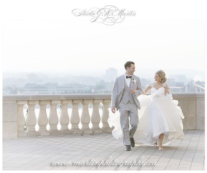Chateau Laurier Ottawa Balcony walking wedding photo summer wedding Studio G.R. Martin